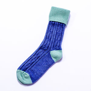 Cashmere Mix Slouch Socks - Denim/Mint