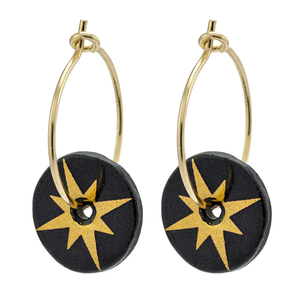 Porcelain Black Star Earrings