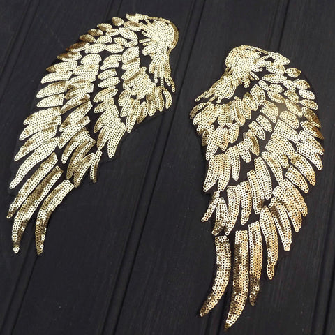 Iron On Wings - Gold Sequin