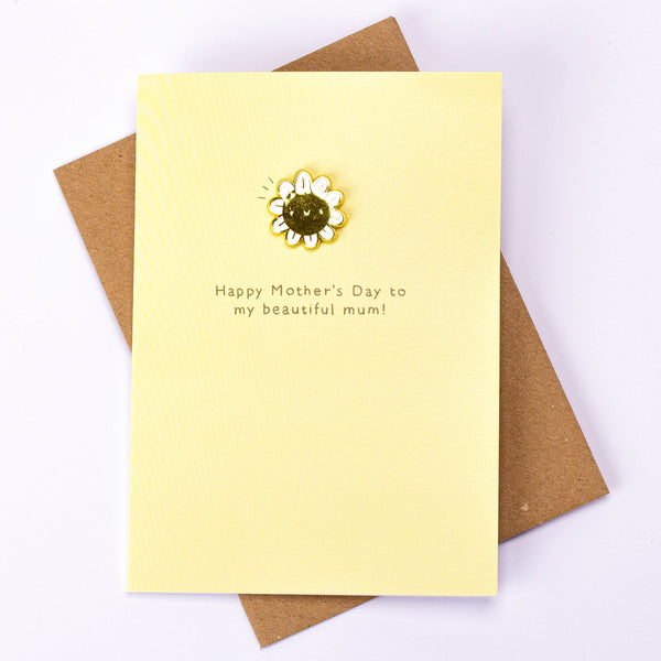 Smiley Flower Enamel Pin Card