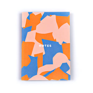Lay Flat A5 Notebook - Orange Overlay Shapes - The Completist