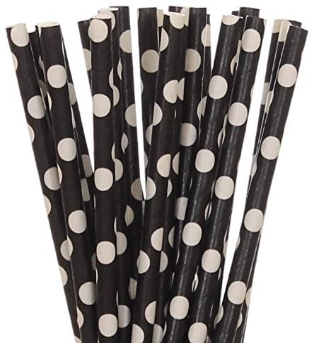 BLACK & WHITE POLKA DOT LARGE Paper Straws