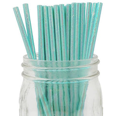 IRIDESCENT Teal Paper Straws