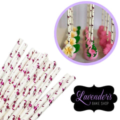 METALLIC Flamingo Paper Straws