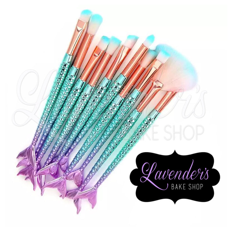 10pc Mermaid Inspired Dusting Brushes
