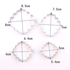 Set Of 4 MINI Square Plaque Cutters Design 2