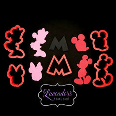 5pc Mickey And Minnie Mouse Inspired Cookie Cutters