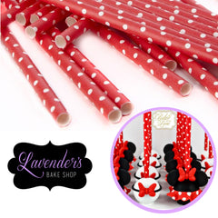 RED & WHITE Polka Dots Paper Straws