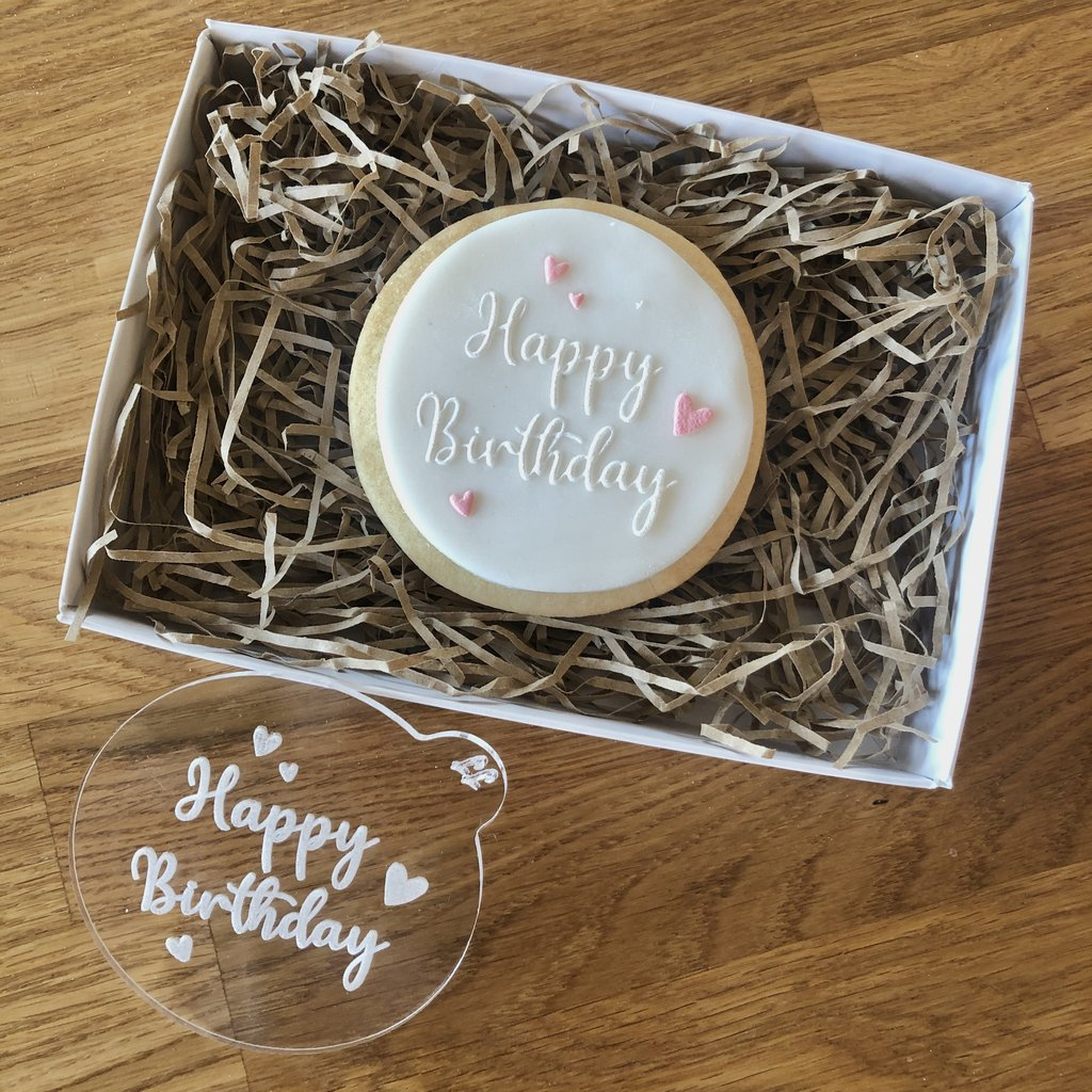 """HAPPY BIRTHDAY WITH HEARTS"" Cookie Embosser Lissie Lou"