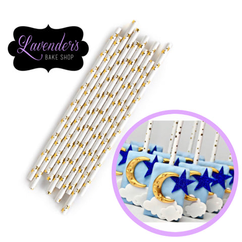 METALLIC Gold STARS Paper Straws