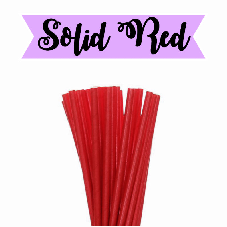 SOLID Red Paper Straws