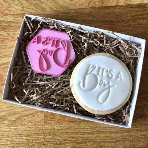 """IT'S A BOY"" Cookie Stamp Lissie Lou"
