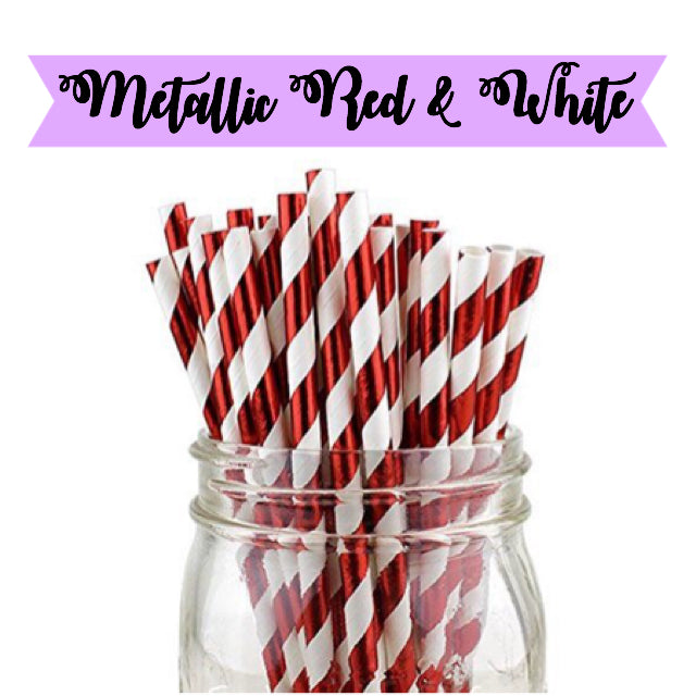 METALLIC Red & White Paper Straws