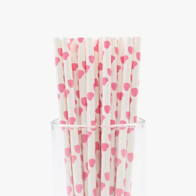 SOFT PINK HEARTS Paper Straws