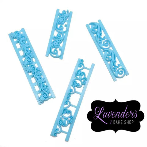 4pc Filigree Border Fondant Embosser