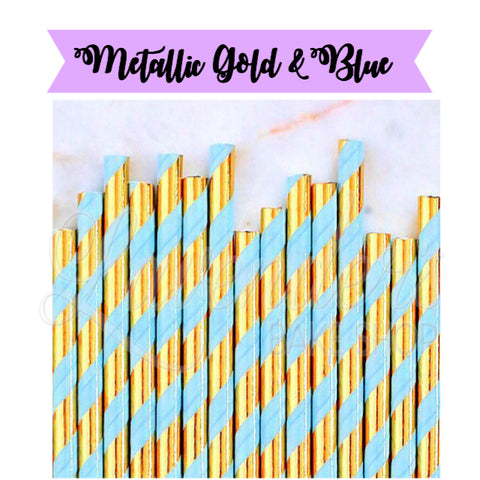 METALLIC Gold & Blue Paper Straws