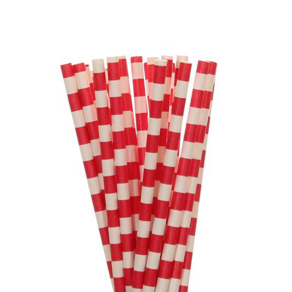 RED Rugby Stripe Paper Straws