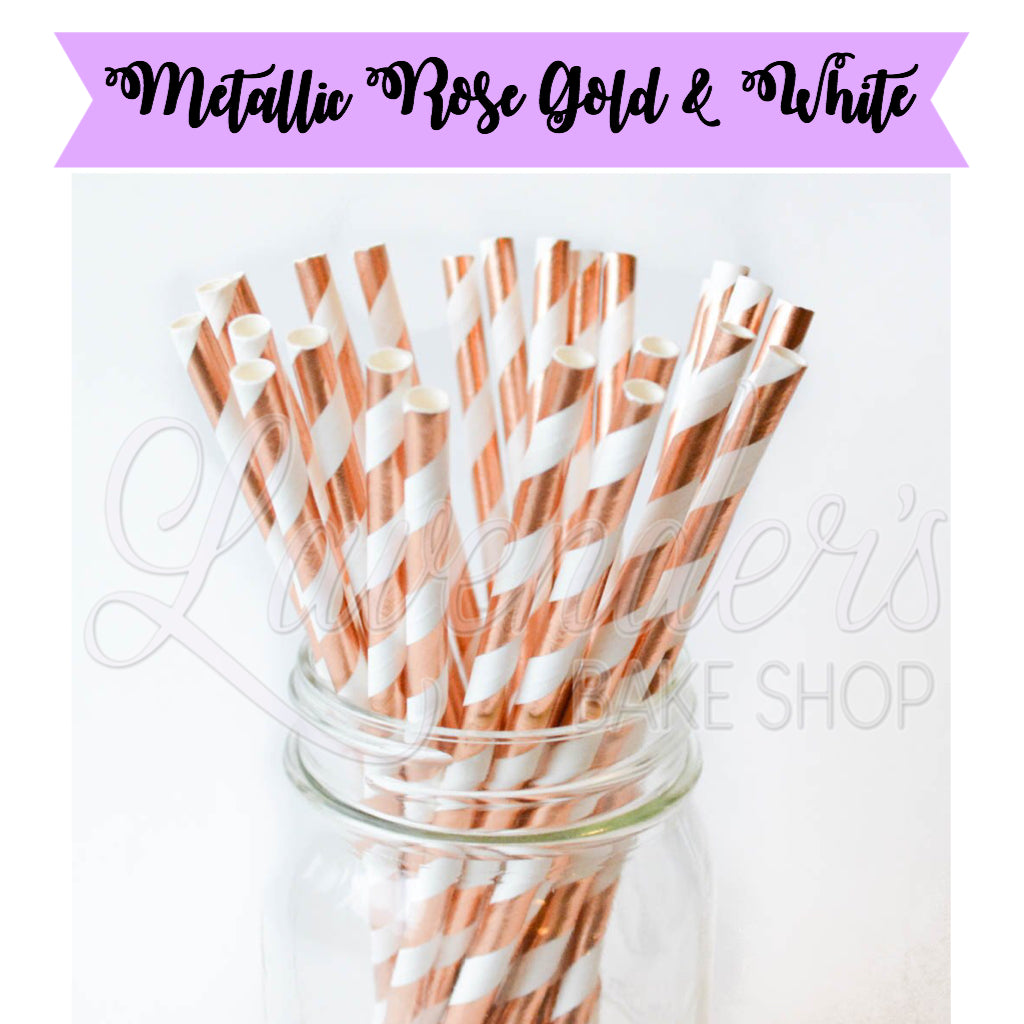 METALLIC Rose Gold & White Paper Straws