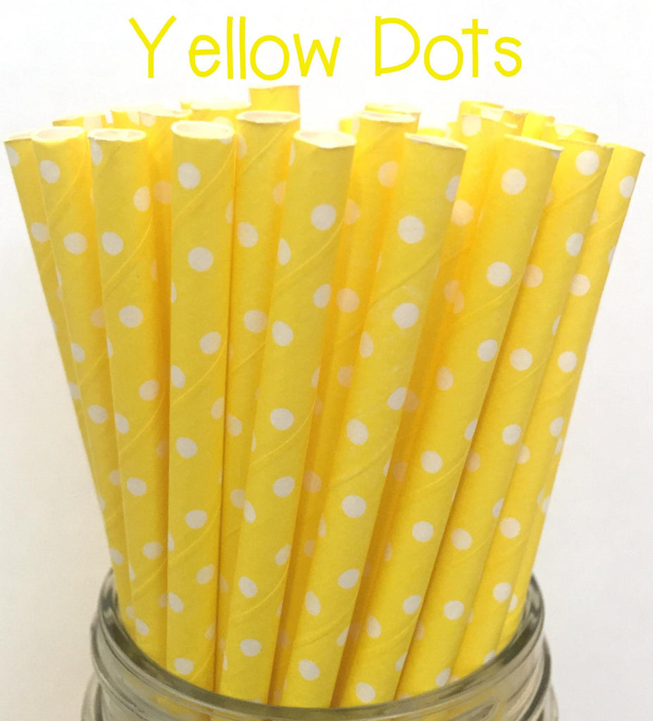 YELLOW POLKA DOTS Paper Straws