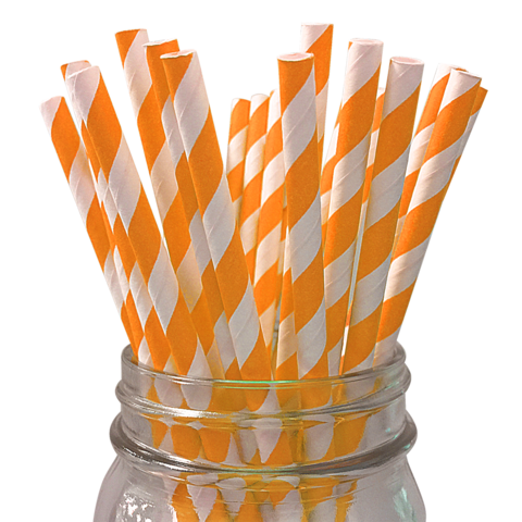 ORANGE & White Stripe Paper Straws