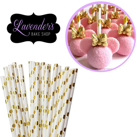 METALLIC WHITE & Gold  Polka Dots Paper Straws