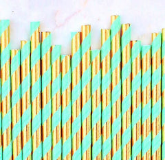 METALLIC Gold & Mint Green Paper Straws