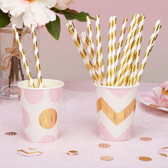 METALLIC Gold & White Paper Straws