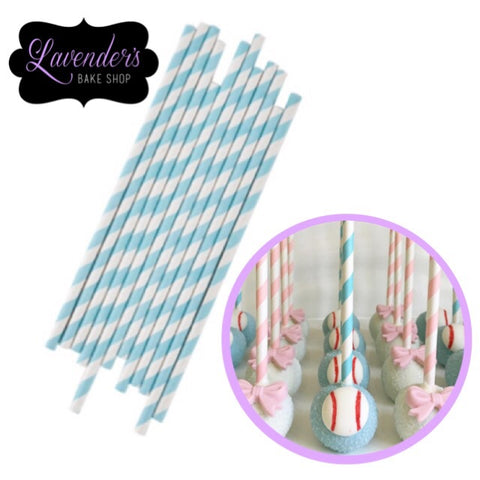 LIGHT BLUE & White Paper Straws