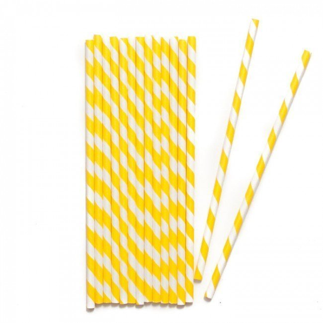 YELLOW & White Stripe Paper Straws
