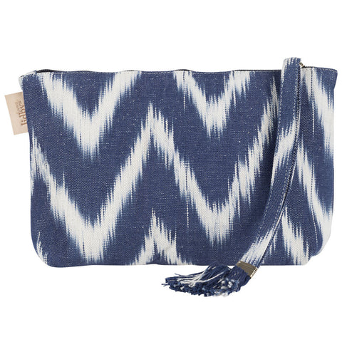 Lidby Living Blue Ikat Clutch Bag