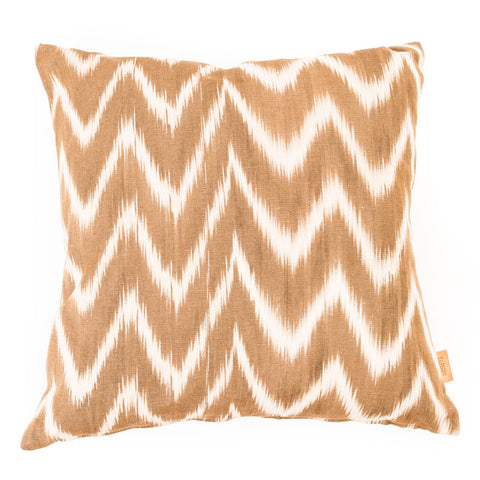 Lidby Living Cushion in Brown and White Zigzag