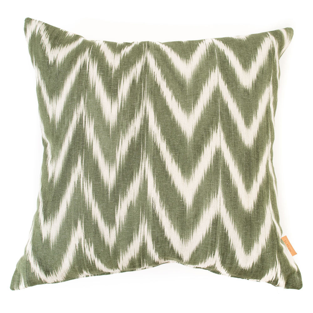 Lidby Living Cushion in Green and White Zigzag - Thompson Clarke - 1