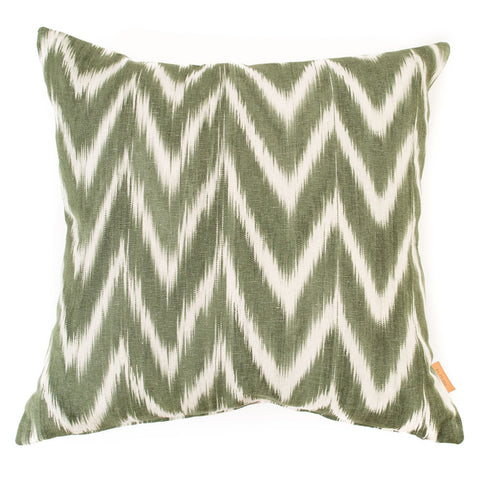 Lidby Living Cushion in Green and White Zigzag