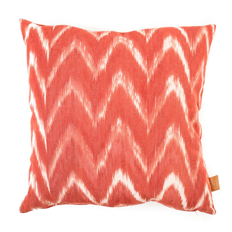 Lidby Living Cushion in Red and White Zigzag