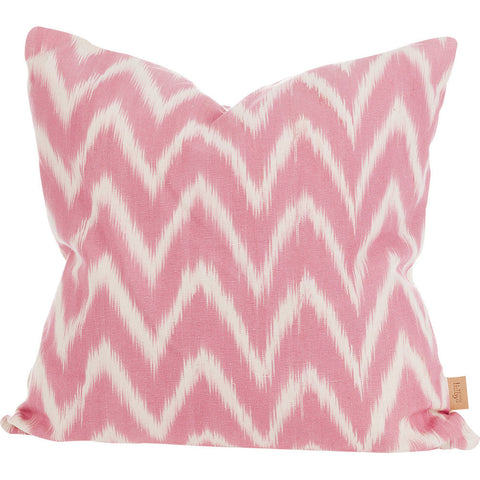 Lidby Living Cushion in Pink and White Zigzag