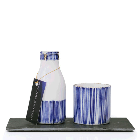 Rebecca Killen Cobalt Milk & Sugar Set Stripes
