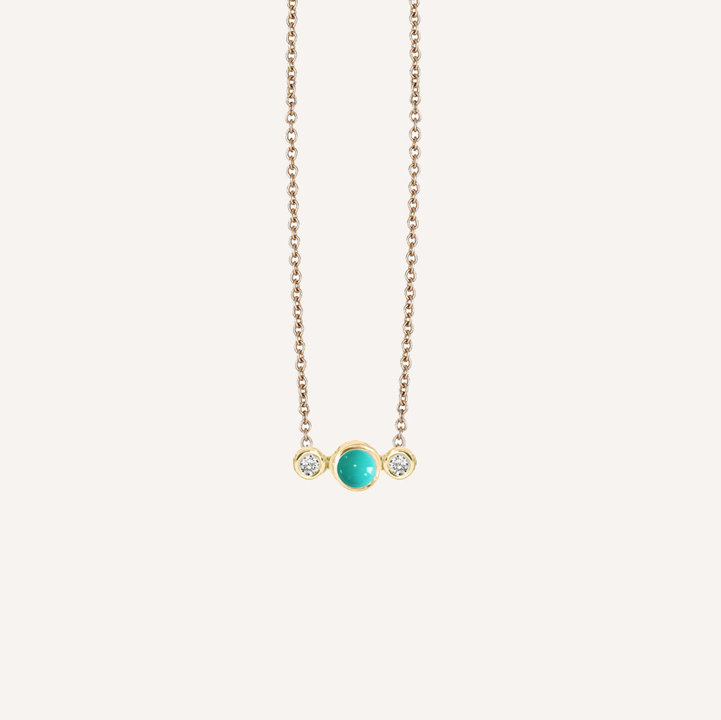 GOLD PLATED 3 DOT NECKLACE W/ TURQUOISE