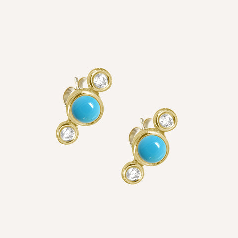 GOLD PLATED 3 DOT STUDS W/ TURQUOISE