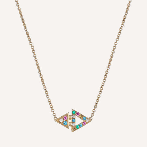GOLD PLATED MULTI STONE MINI TRIANGLE NECKLACE