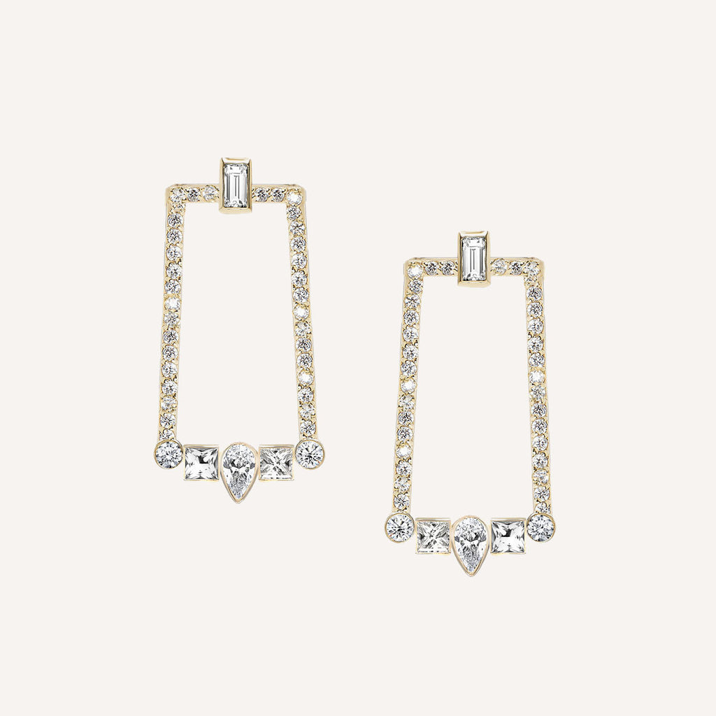ART DECO EARRINGS W/ WHITE SAPPHIRES