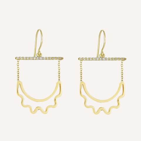 CUT-OUT CRESCENT HANGING EARRINGS