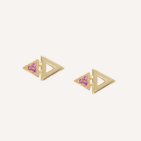 GOLD PLATED MINI TRIANGLE STUDS W/ PINK SAPPHIRE