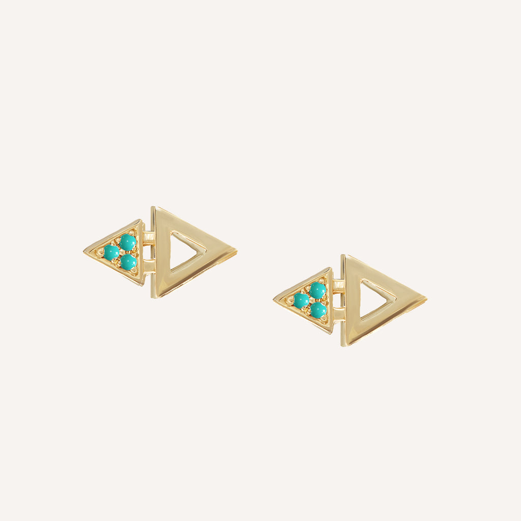 GOLD PLATED MINI TRIANGLE STUDS W/ TURQUOISE
