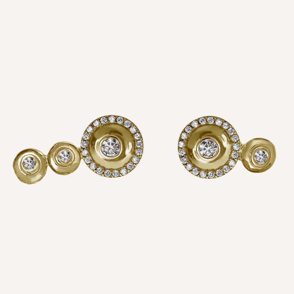ALL DIAMOND MISMATCHED MEDIUM MINI CAP STUDS