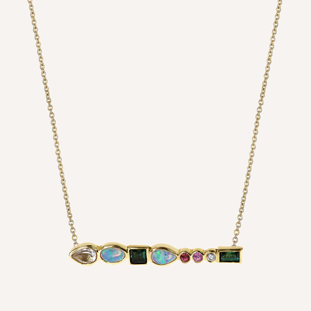 MULTI STONE LONG BAR NECKLACE