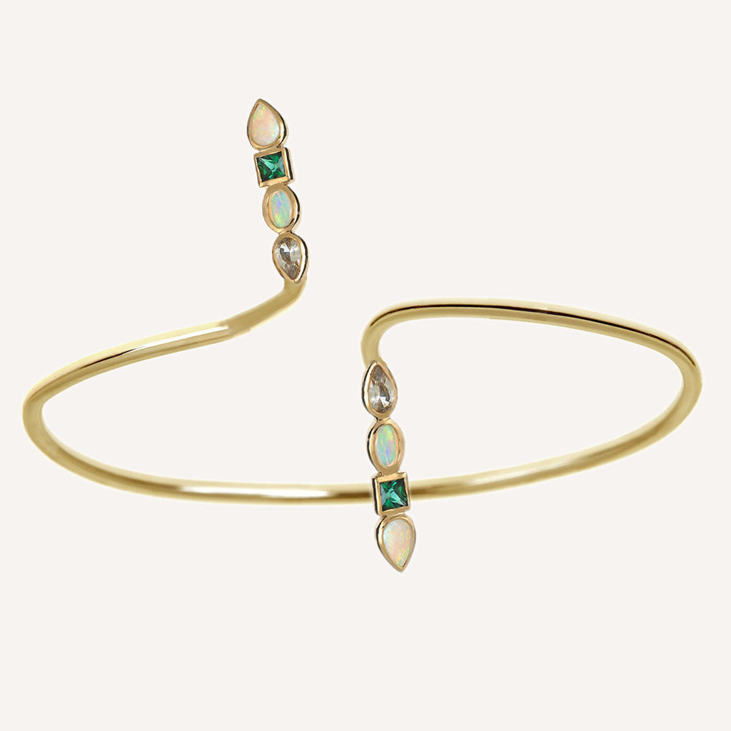 MULTI STONE PEAR SHORT TWIST CUFF
