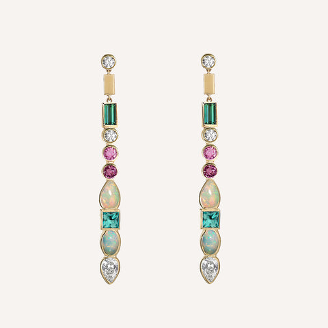 MULTI STONE MATCHSTICK EARRINGS