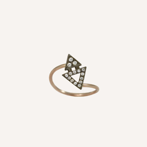 ALL DIAMOND MINI TRIANGLE RING WITH BLACKENED GOLD