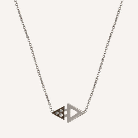 MINI TRIANGLE NECKLACE WITH BLACKENED GOLD