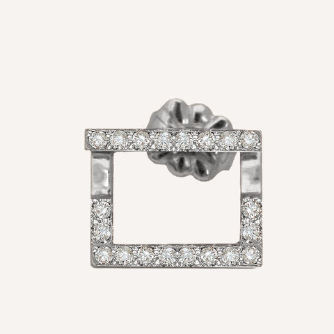 SQUARE ILLUSION EARRING W/ DIAMONDS